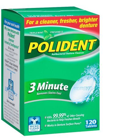 Polident 3 Minute, Antibacterial Denture Cleanser 120 Ea (3 PACK)