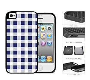 Plaid Design Pattern In Navy Blue 2-Piece Dual Layer High Impact Rubber Silicone Cell Phone Case Apple iPhone 4 4s