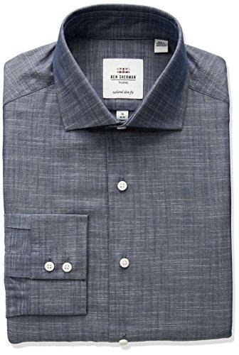 ben-sherman-mens-kings-fit-slim-slub-chambray-dress-shirt-navy-165-neck-34-35-sleeve