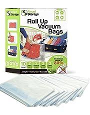 Roll-up bolsas de almacenaje 10pieza | aspiradora bolsas y Roll-up Espacio Saver Bolsas Variety Pack | bolsas de aspiradora para la ropa, ropa de cama & Travel | no requiere Bomba ni aspiradora | cierre de cremallera Bolsas de aspiradora & Roll Mano por Smart Storage
