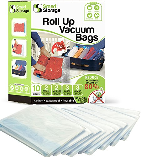 Roll-Up Storage Bags 10 PC | Vacuum Bags & Roll-Up Space Saver Bags Variety Pack | Vacuum Bags for Clothes, Bedding & Travel | No Pump or Vacuum Required | Zip & Roll Hand Vacuum Bags by Smart Storage by Smart Storage