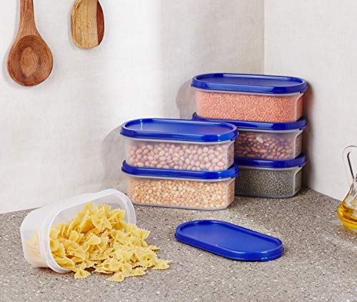 Amazon Brand - Solimo Modular Plastic Storage Containers with Lid, Set of 6, 525ml