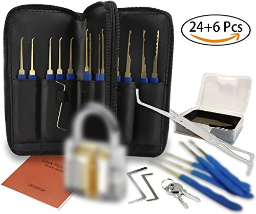 Lock Pick Set, Practice Lock, 24 Piece Picking Tools Transparent Cutaway Crystal Pin Tumbler Keyed Padlock Lock with Crevice Pick, Lockpicking Extractor Tool for Beginner and Pro Locksmiths