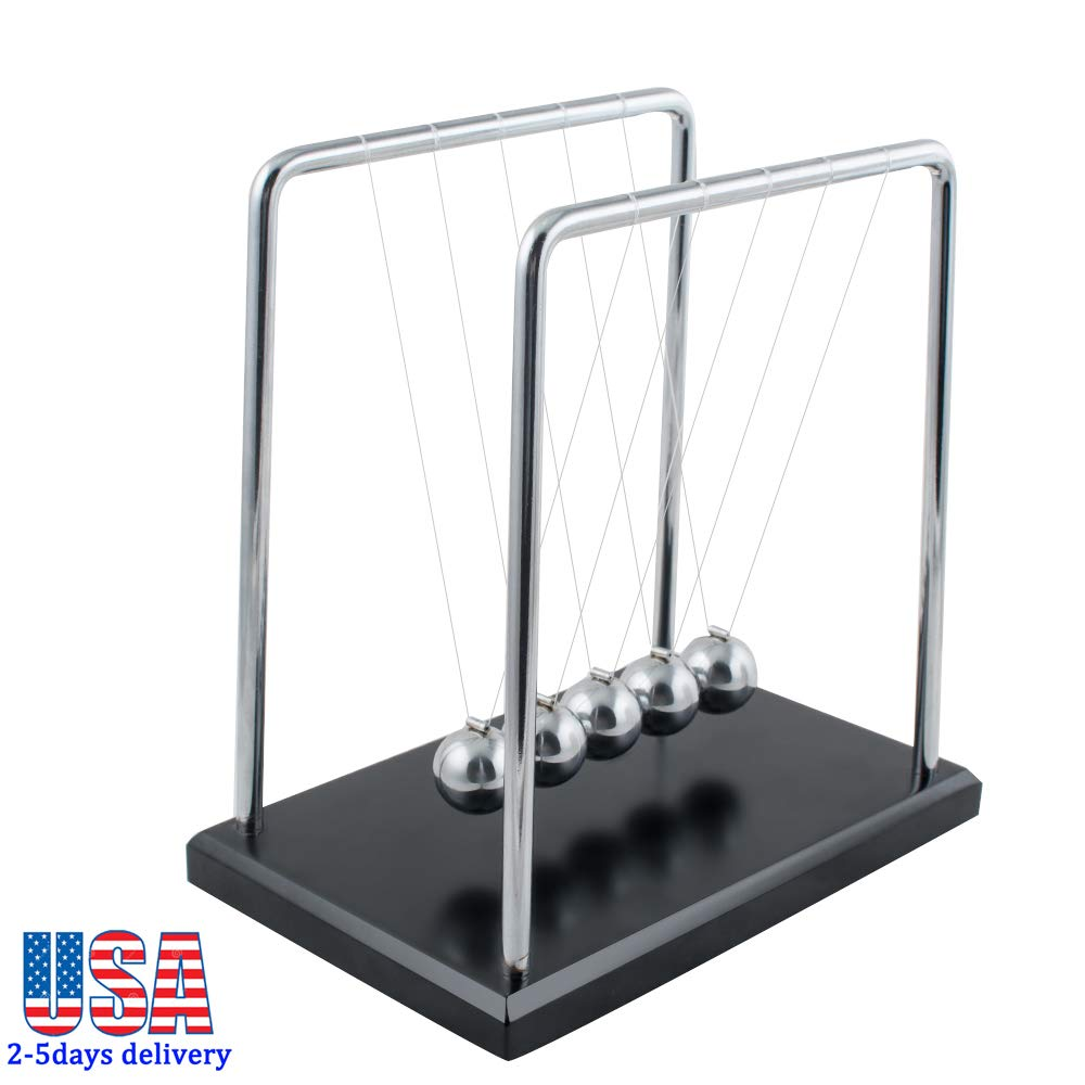 Zinnor Newton\'s Cradle,Newton\'s Cradle Balance Balls with Metal Balance Ball and Black Wooden Base Accompany Your Child\'s Grown-Up | Decoration for Living Room Drawing Room and Office (USA Shipping)