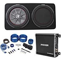 Kicker 43TCWRT122 COMPRT12 12 1000w Slim Subwoofer in Sub Box+Amplifier+Amp Kit