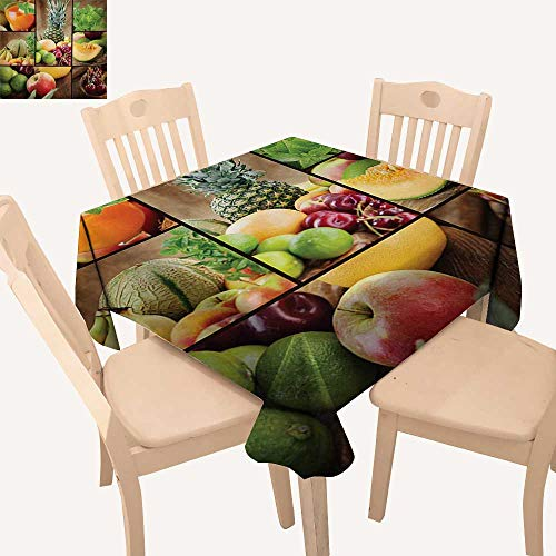 """Angoueleven Nature Fabric Tablecloth Fruits Salad Themed Watermelon Pineapple Apple Cherries Juice Collage Art Print Square Tablecloth Multicolor W 70"""" x L 70"""""""