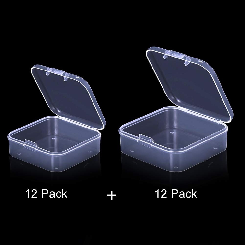 DIY Jewelry Beads Seeds /& Small Hardware 3.3x3.3 x1.2 /& 2.9x2.9 x1Inch 24Pack Small Bead Storage Containers 2 Size Clear Plastic Organizer Boxes with Lids for Diamond Drills