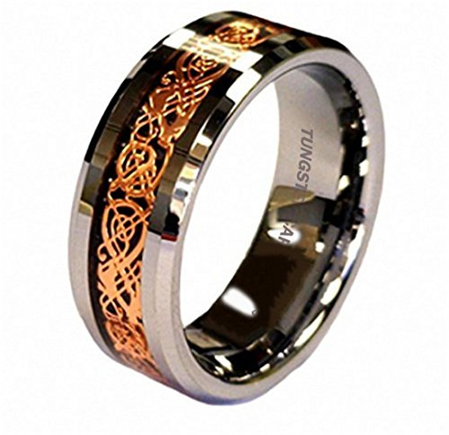 King Will 8mm 18K Rose Gold Plated Celtic Dragon Tungsten Carbide Wedding Band Ring Comfort Fit 7