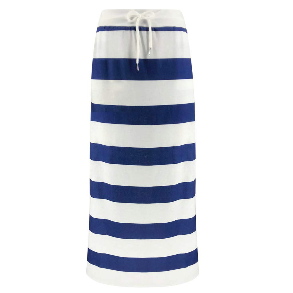 Stripe Short Skirt for Women Knee Length Casual Striped Skirts Summer Elastic (Large, Blue Striped Maxi Skirts) by LISTHA