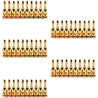 Areyourshop 50 Pcs Musical Audio Speaker Cable Wire 4mm Gold Plated Banana Plug Connector