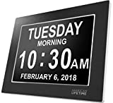 American Lifetime Premium Version - Day Clock - Extra Large Impaired Vision Digital Clock with Battery Backup & 5 Alarm Options (Limited Edition Black Polished Metal Frame)