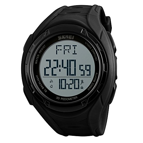(Pedometer Watch, Digital Outdoor Sports Watch for Men Women, Calories Tracker Stopwatch Countdown Military Waterproof ...)