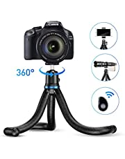 Apexel Phone Tripod, Flexible Tripod with Wireless Remote Shutter, Compatible with iPhone/Android Samsung, Mini Tripod Stand Holder for Camera GoPro/Mobile Cell Phone