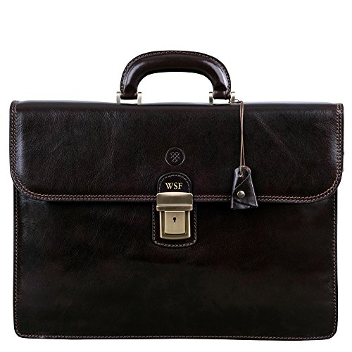 Maxwell Scott Bags Maxwell Scott Luxury Brown Mans Leather Briefcase (The Paolo2) image