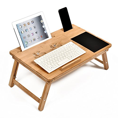 WELLAND Bamboo Adjustable Laptop Desk Breakfast Serving Bed Tray (Assemble Own Couch Your)