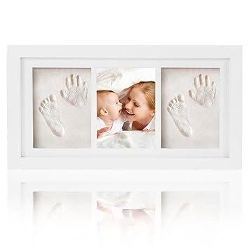 Baby Handabdruck und Fu/ßabdruck Andenken Fotos Rahmen set Ideales Babygeschenk Bilderrahmen aus Holz mit Gipsabdruck fu/¨r Baby Geburt oder Taufe