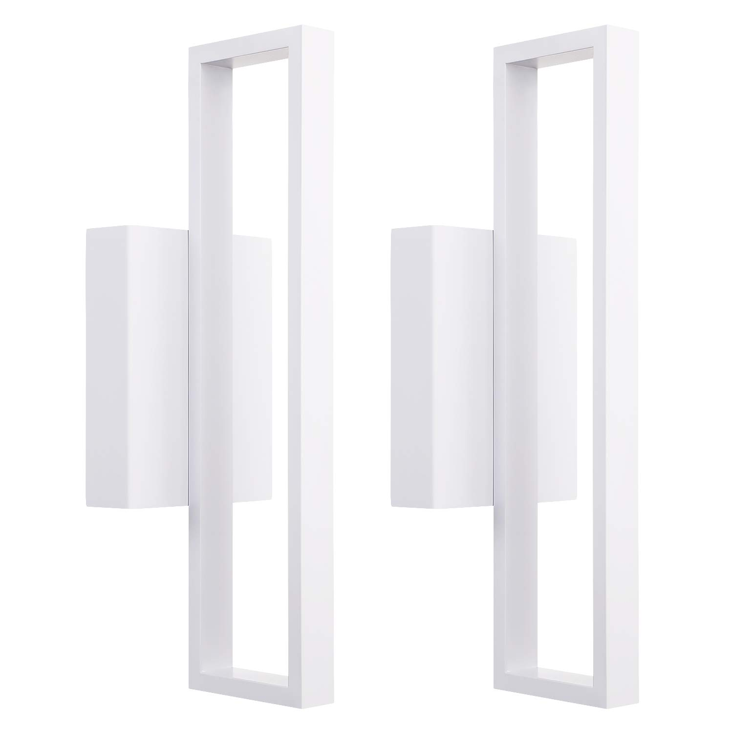 LEONLITE 12W LED Square Wall Sconce, LED Wall Lights, 50W Halogen Equivalent, 600lm Surface Mounted LED Wall Lamp, Room Decor for Office, Living Room, Bedroom, Hallway, Corridor, Pack of 2