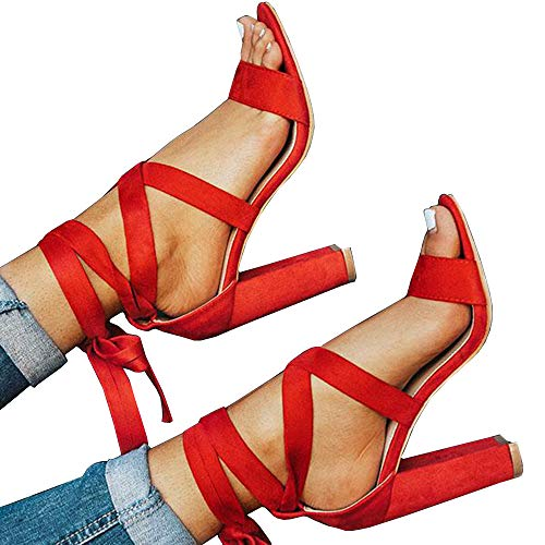 Womens Lace Up Chunky Block High Heel Sandals Open Toe Ankle Tie Strappy Dress Party Shoes Red ()