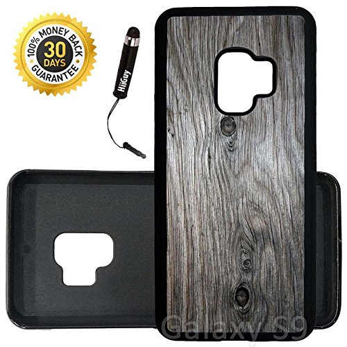 Custom Galaxy S9 Case (Grey Weathered Wood Grain) Edge-to-Edge Rubber Black Cover Ultra Slim | Lightweight | Includes Stylus Pen by Innosub