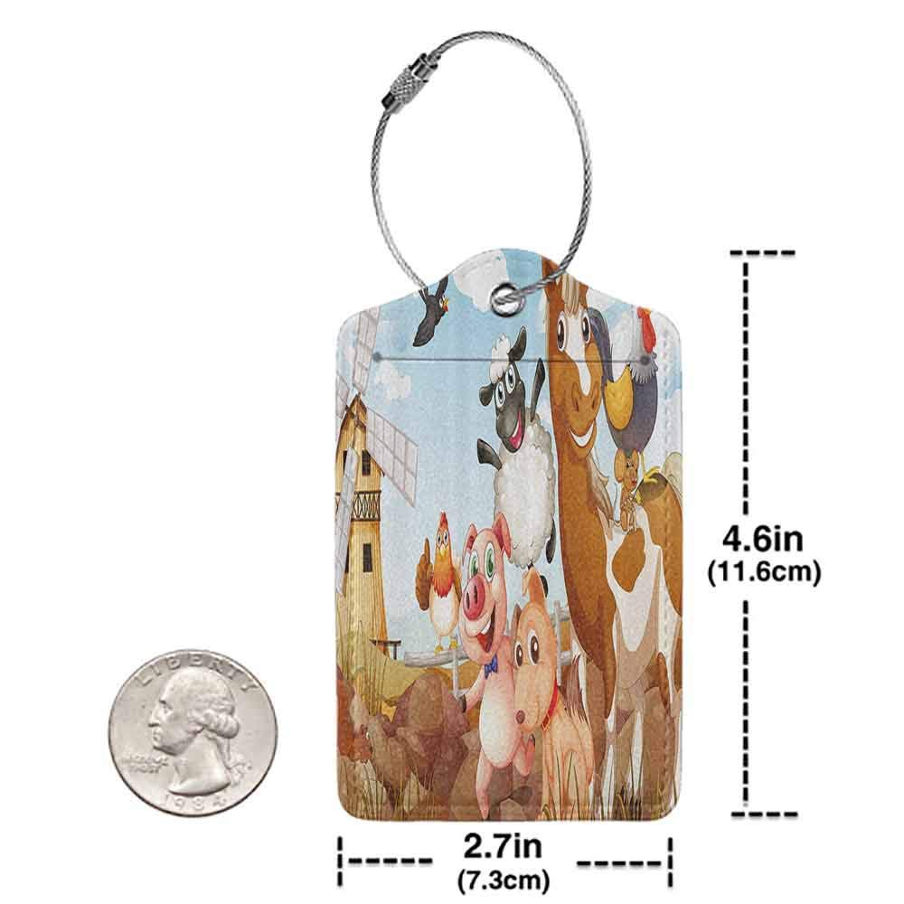 Small luggage tag Kids Decor Illustration of Animals in Farm Cloudy Sky and Windmill Print Art Quickly find the suitcase Light Blue and Brown W2.7 x L4.6