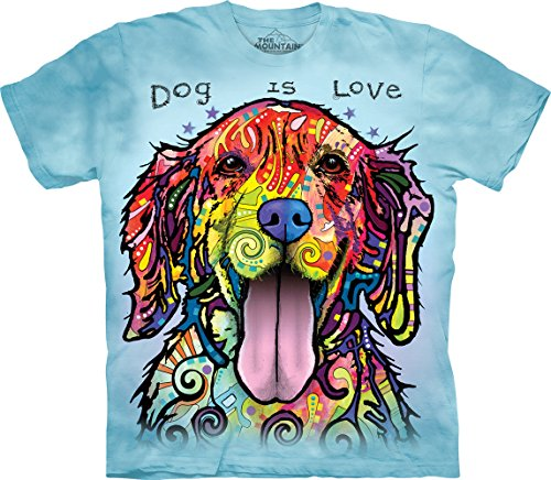 The Mountain Dog Is Love Adult T-Shirt, Blue, Medium - Mountain Dog Tie