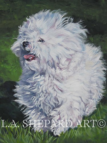 A Bolognese dog art portrait print of an LA Shepard painting - Bolognese Dogs