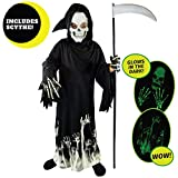 Spooktacular Creations Kids Grim Reaper Glow in The Dark Deluxe Phantom Costume