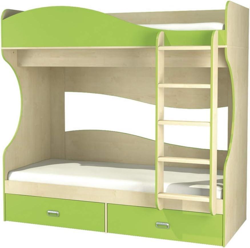 Litera con cajones (80 x 190 cm), color verde lima: Amazon.es: Bebé