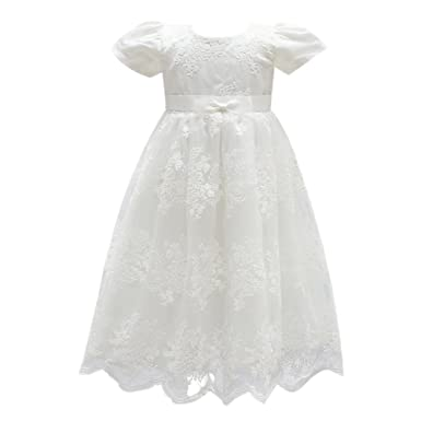 9ebb1053964d3 OBEEII Christening Gowns for Baby Girls Baptism Long Dress Embroidery  Floral Lace Special Occasion Formal Dress for First Communion Birthay  Wedding Evening ...