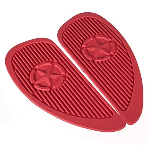 Hitommy Pair Motorcycle Cafe Racer Fuel Tank Cap Pad Protector Rubber Decal Sticker Universal - - Jacket Guzzi Moto