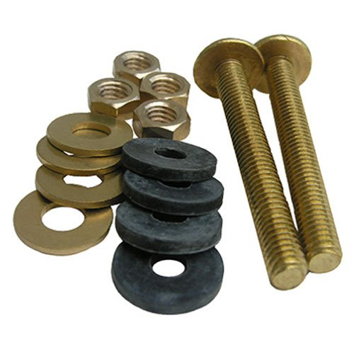 - LASCO 04-3675 Toilet Tank to Bowl Solid Brass 3/8-Inch by 3-1/8-Inch Heavy Duty Bolts with Rubber and Brass Washers and Hex Nuts