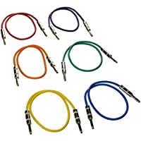 Seismic Audio SATRX-2BGORYP 6 Pack of Multi Color 2 1/4TRS to 1/4 TRS Patch Cables