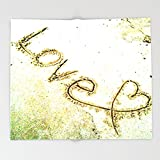 Society6 Summer Love beach sand Heart Throw Blankets 88'' x 104'' Blanket
