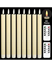 GenSwin Flameless Flickering Taper Candles with 2 Remote Controls and Timer