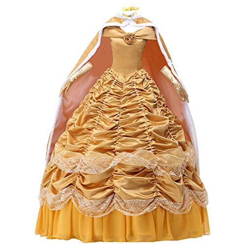 Womens Princess Dress Satin Party Costume Ball Gown Prom Dresses Cape Gloves ()