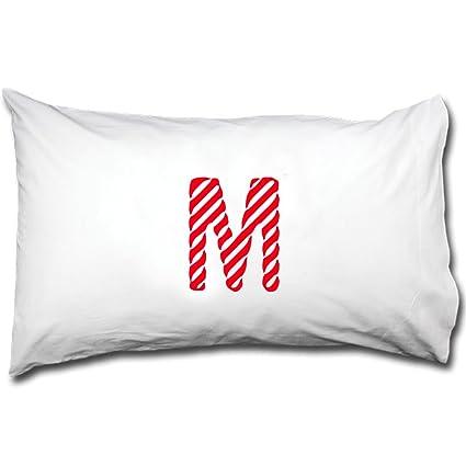 amazon com m candy christmas monogram letter m bed pillow case