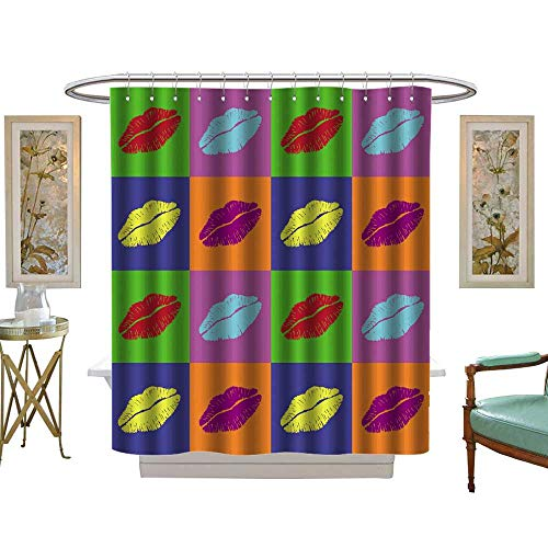 Warhol Mickey Mouse - luvoluxhome Shower Curtains Fabric Extra Long Warhol Lips W36 x L72 Bathroom Set with Hooks
