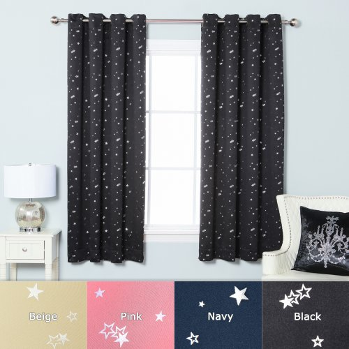 (Best Home Fashion Star Print Thermal Insulated Blackout Curtains - Antique Bronze Grommet Top - Black - 52