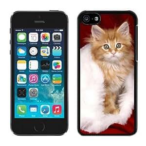 Customized Portfolio Christmas Cat On White Fur Black Plastic Iphone 5c,Apple Iphone 5c Cover Case
