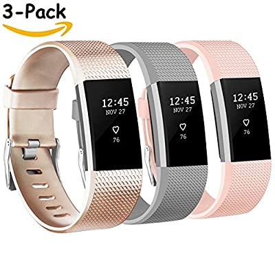 Vancle Fitbit Charge 2 Bands, Replacement Bands for Fitbit Charge 2 HR Sport Wristbands Small Large (# Champagne & Gray & Blush Pink, Small)