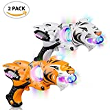 "Light Up Spinner Tiger Blaster by ArtCreativity (Set of 2), Spinning LED and Cool Sound Effects, 11.5"" Toy Guns for Kids, Batteries Included, Great Gift Idea for Boys, Girls (Orange & White)"