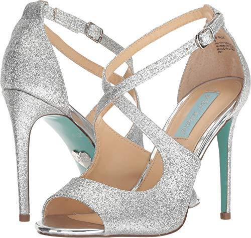 (Blue by Betsey Johnson Women's SB-TACIE Heeled Sandal, Silver Glitter, 8 M)