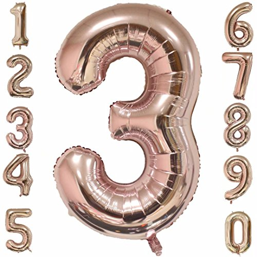 1973 OI 40 Inch Giant Number Balloons Rose Gold Mylar Foil Big Number 3 Large Helium Balloon Birthday Party Decoration (Helium Large Balloons)