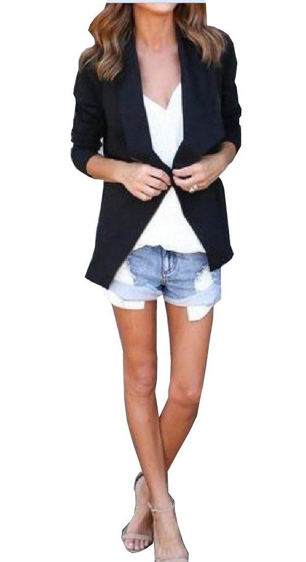 Pivaconis Women Long Sleeve Side Zip Thin Casual Tops Cardigan Black XL