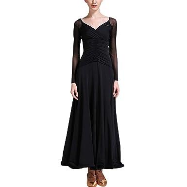 97edb34c22d174 TAAMBAB Eine Linie Modern Standard Tanzkleid Damen - Gesamtlänge Gefaltete  Luftschlangen Swing Ballsaal Kleider