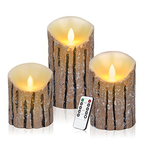 Antizer Flameless Candles 3 Pack Set Dripless Real Wax Pillars Include Realistic Dancing LED Flames and 10-key Remote Control with 24-hour Timer Function (Cedar-Bark) (Pillar Dripless Candle)