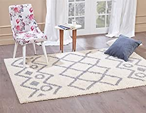 """A2Z Rug ( 200x290 cm (6ft8"""" x 9ft7"""") Ivory 5535 ) Modern & Traditional Moroccan Shaggy Collection Contemporary Living & Bedroom Soft Shaggy Area Rug, Carpet"""