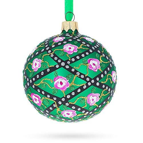 BestPysanky 1907 Rose Trellis Royal Egg Glass Christmas Ornament