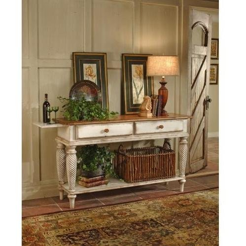 Wilshire Sideboard w 2 Drawers & Antique White Finish For Sale