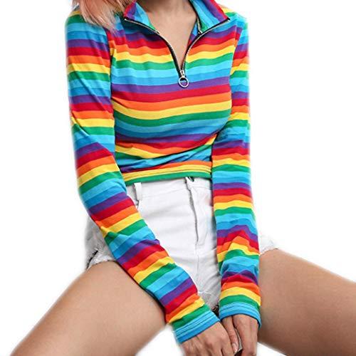 (Keliay Fashion Womens Long Sleeves Turtleneck Rainbow Color Zipper Tops Blouse)